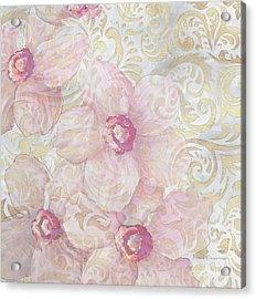 Soft Floral Gold Pattern Design Sophisticated Elegance By Megan Duncanson Acrylic Print by Megan Duncanson