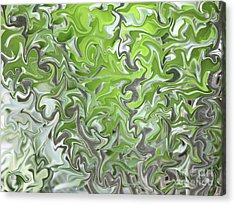 Soft Green And Gray Abstract Acrylic Print by Carol Groenen