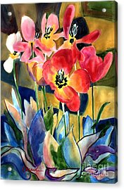 Soft Quilted Tulips Acrylic Print by Kathy Braud