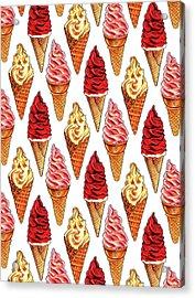 Soft Serve Pattern Acrylic Print by Kelly Gilleran