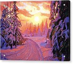Soft Snow Sunrise Acrylic Print by David Lloyd Glover