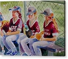 Softball  Acrylic Print by Linda Emerson
