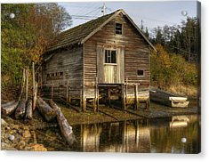 Sointula Boat Shed Acrylic Print by Darryl Luscombe