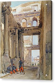 Soldiers In The Ruins Of The Tuileries Acrylic Print by Isidore Pils