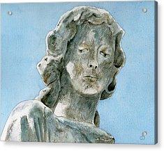 Solitude. A Cemetery Statue Acrylic Print by Brenda Owen
