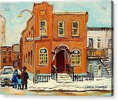 Solomons Temple Montreal Bagg Street Shul Acrylic Print by Carole Spandau