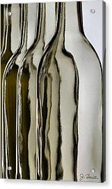 Somber Bottles Acrylic Print by Joe Bonita