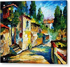 Somewhere In Israel - Palette Knife Oil Painting On Canvas By Leonid Afremov Acrylic Print by Leonid Afremov