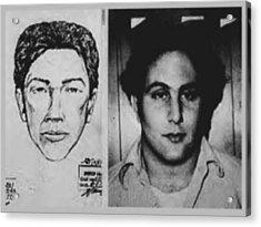 Son Of Sam David Berkowitz Mug Shot And Police Sketch Acrylic Print by Tony Rubino
