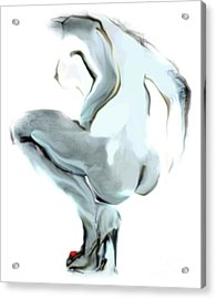 Sophi Squats Acrylic Print by Carolyn Weltman