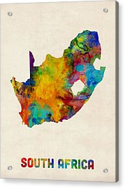 South Africa Watercolor Map Acrylic Print by Michael Tompsett