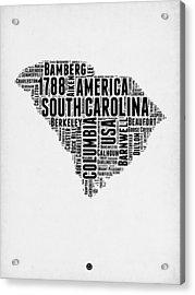 South Carolina Word Cloud 1 Acrylic Print by Naxart Studio