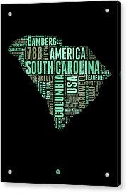 South Carolina Word Cloud 2 Acrylic Print by Naxart Studio