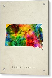 South Dakota State Map 01 Acrylic Print by Aged Pixel