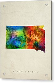 South Dakota State Map 03 Acrylic Print by Aged Pixel