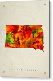South Dakota State Map 04 Acrylic Print by Aged Pixel