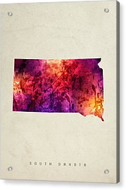 South Dakota State Map 05 Acrylic Print by Aged Pixel