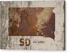South Dakota State Map Industrial Rusted Metal On Cement Wall With Founding Date Series 036 Acrylic Print by Design Turnpike