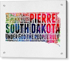 South Dakota Watercolor Word Cloud Acrylic Print by Naxart Studio