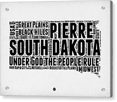 South Dakota Word Cloud 1 Acrylic Print by Naxart Studio