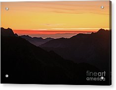 South Sound Sunset Layers Acrylic Print by Mike Reid