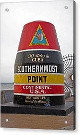 Southermost Point Of U.s.a. Buoy Marker Acrylic Print by John Stephens