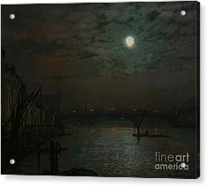 Southwark Bridge By Moonlight Acrylic Print by John Atkinson Grimshaw