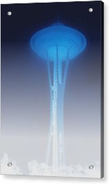 Space Needle In Serious Fog - Seattle Wa Acrylic Print by Christine Till
