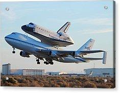 Space Shuttle Atalantis Departs Edwards Afb July 1 2007 Acrylic Print by Brian Lockett