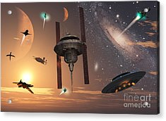 Spaceships Used By Different Alien Acrylic Print by Mark Stevenson