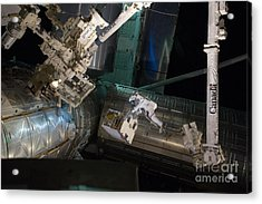 Spacewalk On Iss Acrylic Print by NASA/Science Source
