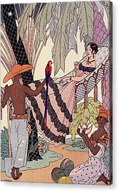 Spanish Lady In Hammock With Parrot Acrylic Print by Georges Barbier