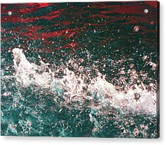 Sparkling Water Red Acrylic Print by HollyWood Creation By linda zanini