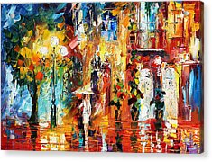 Special Rain - Palette Knife Oil Painting On Canvas By Leonid Afremov Acrylic Print by Leonid Afremov