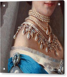 Historical Fashion, Royal Jewels On Empress Of Russia, Detail Acrylic Print by Tina Lavoie