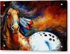 Spirit Indian Warrior Pony Acrylic Print by Marcia Baldwin