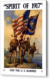 Spirit Of 1917 - Join The Us Marines  Acrylic Print by War Is Hell Store