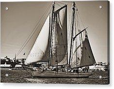 Spirit Of South Carolina Schooner Sailboat Sepia Toned Acrylic Print by Dustin K Ryan