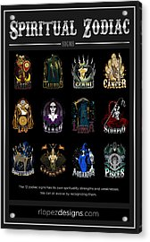 Acrylic Print featuring the digital art Spiritual Zodiac Signs by Raphael Lopez