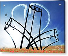 Spitfire Sentinel In The Field Of Poppies  Acrylic Print by Eugene James