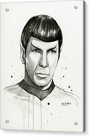 Spock Watercolor Portrait Acrylic Print by Olga Shvartsur