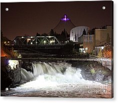 Spokane Falls Night Scene Acrylic Print by Carol Groenen