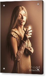 Spooky Vampire Girl Drinking A Glass Of Red Wine Acrylic Print by Jorgo Photography - Wall Art Gallery