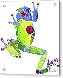 Spring Green Frog Acrylic Print by Jo Lynch