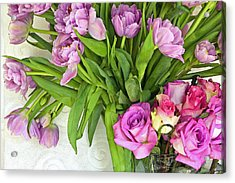 Spring Roses And Tulips Acrylic Print by Margaret Hood
