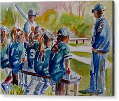 Softball Ponny Tails Acrylic Print by Linda Emerson