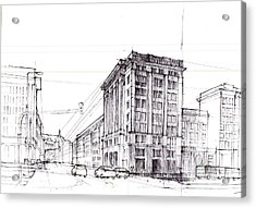Square Of Constitution Sketch Acrylic Print by Krystian  Wozniak