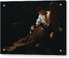 St Francis Being Comforted By An Angel After Receiving Stigmata Acrylic Print by Caravaggio