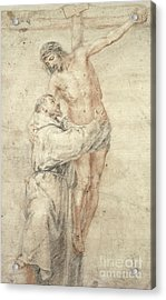 St Francis Rejecting The World And Embracing Christ Acrylic Print by Bartolome Esteban Murillo