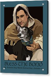 St. Francis With Greyhound Acrylic Print by Kris Hackleman